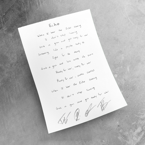 Signed Handwritten Lyrics