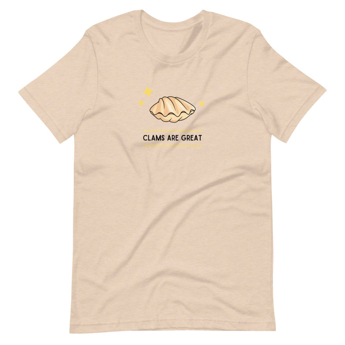 Clams are great. Cream T-shirt. Cartoon clam with stars around it.