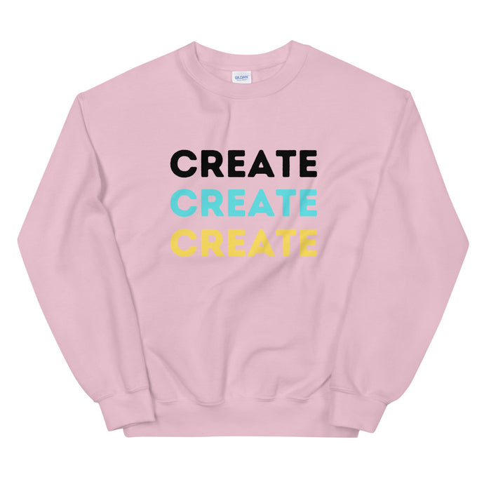 Pink sweatshirt. Create in black, teal, and yellow.