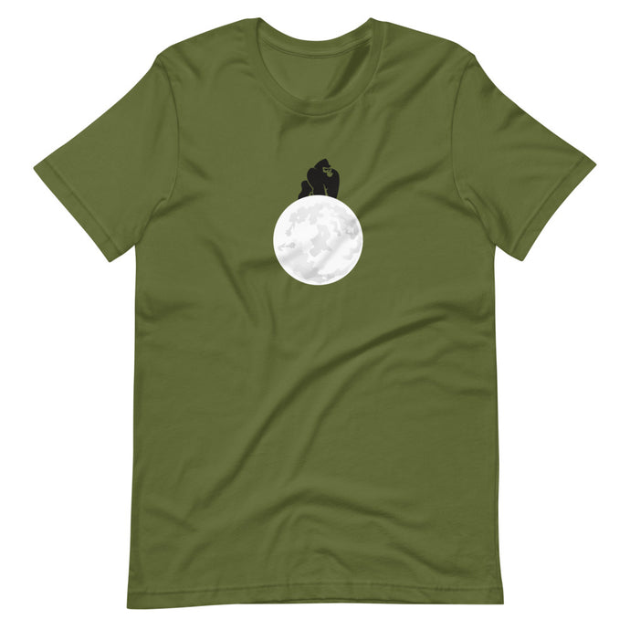 Apes to the moon logo. Olive green. Ethically sourced. Tees For All Artists