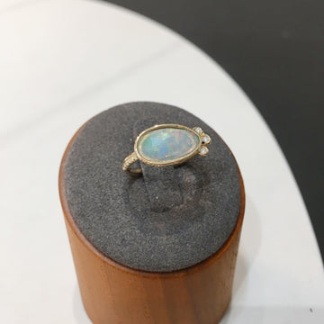 SHAFCA K14YG Opal and Diamond Ring