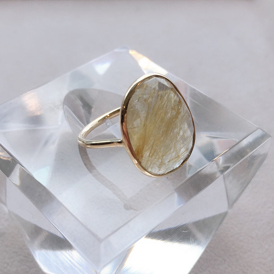 Oval Rose Cut Rutile Quartz Ring