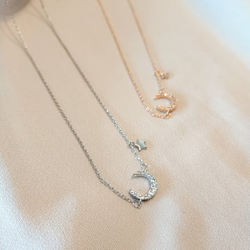 Select Petit Moon and Star Necklace