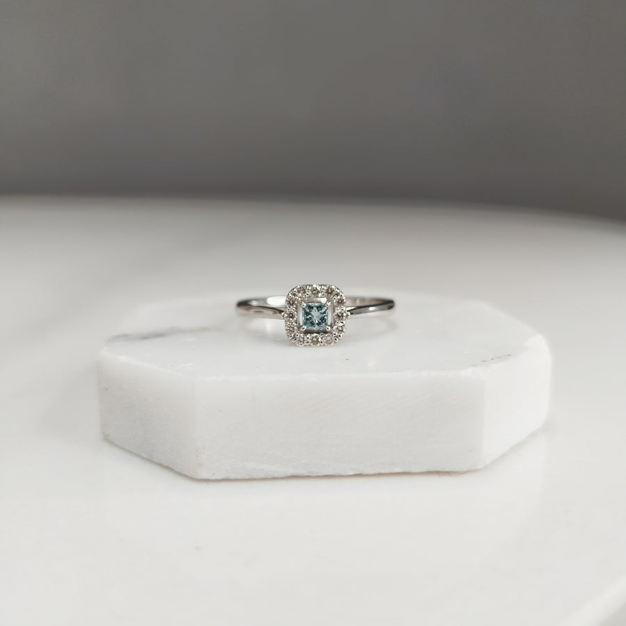 Pale Blue Square Diamond Ring