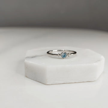Ice Blue Heart Shaped Diamond Ring