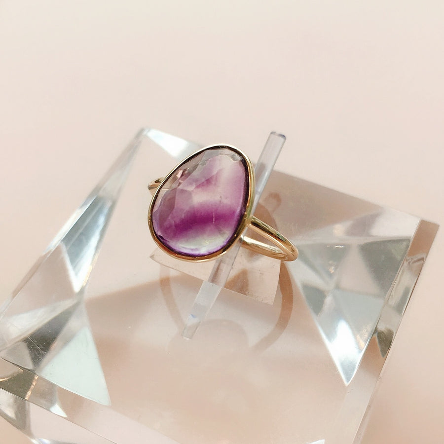 Oval Rose Cut Fluorite Ring