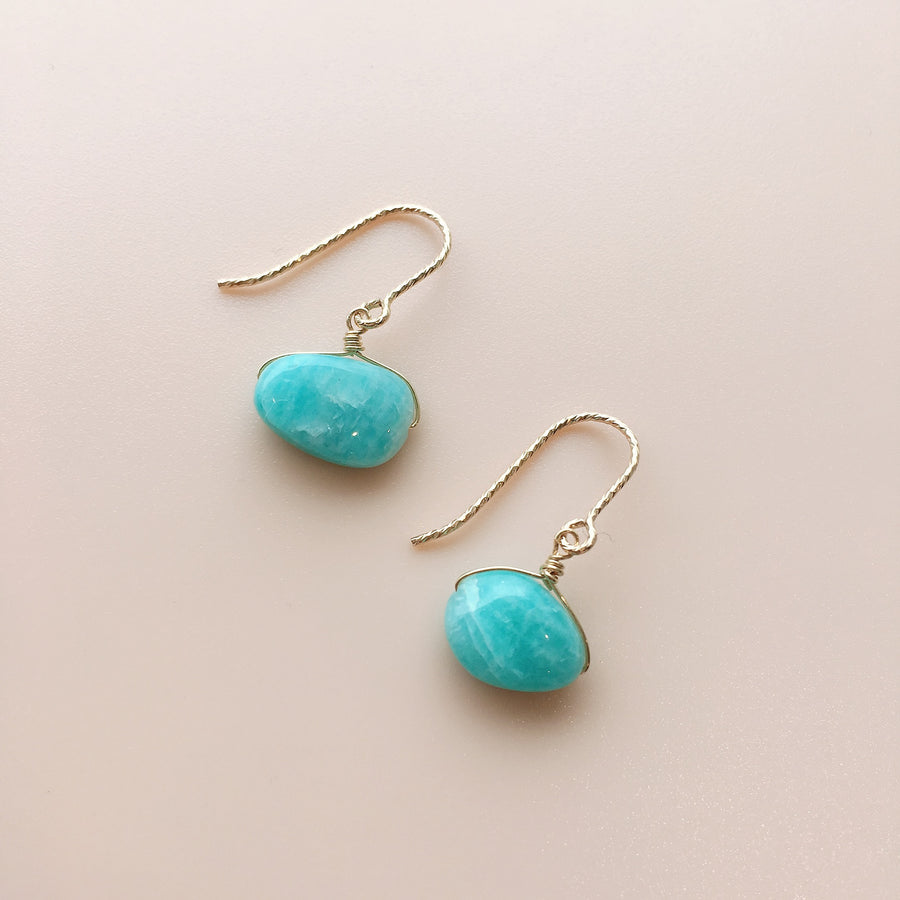 Watashi GEM Amazonite Gold Pierces