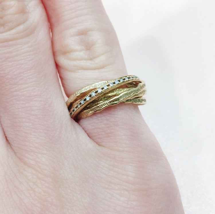 SHAFCA Five Gold Rings with Diamonds