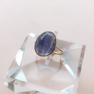 Oval Rose Cut Iolite Ring