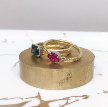 SHAFCA Ruby Gold Ring with Platinum