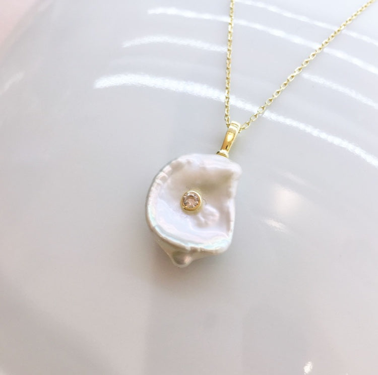 Baroque Pearl Necklace with CZ (Gold/ Silver)