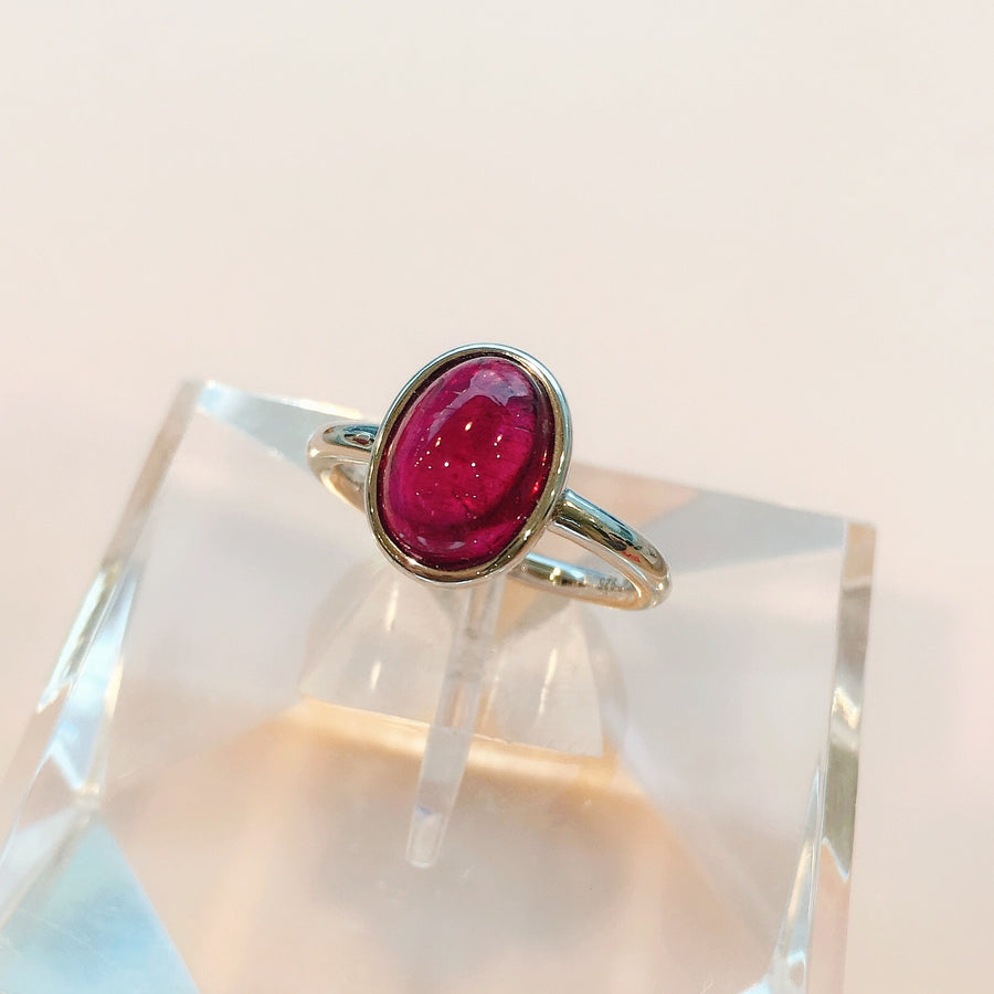 Rubellite Ring with Silver925 (Size #12)