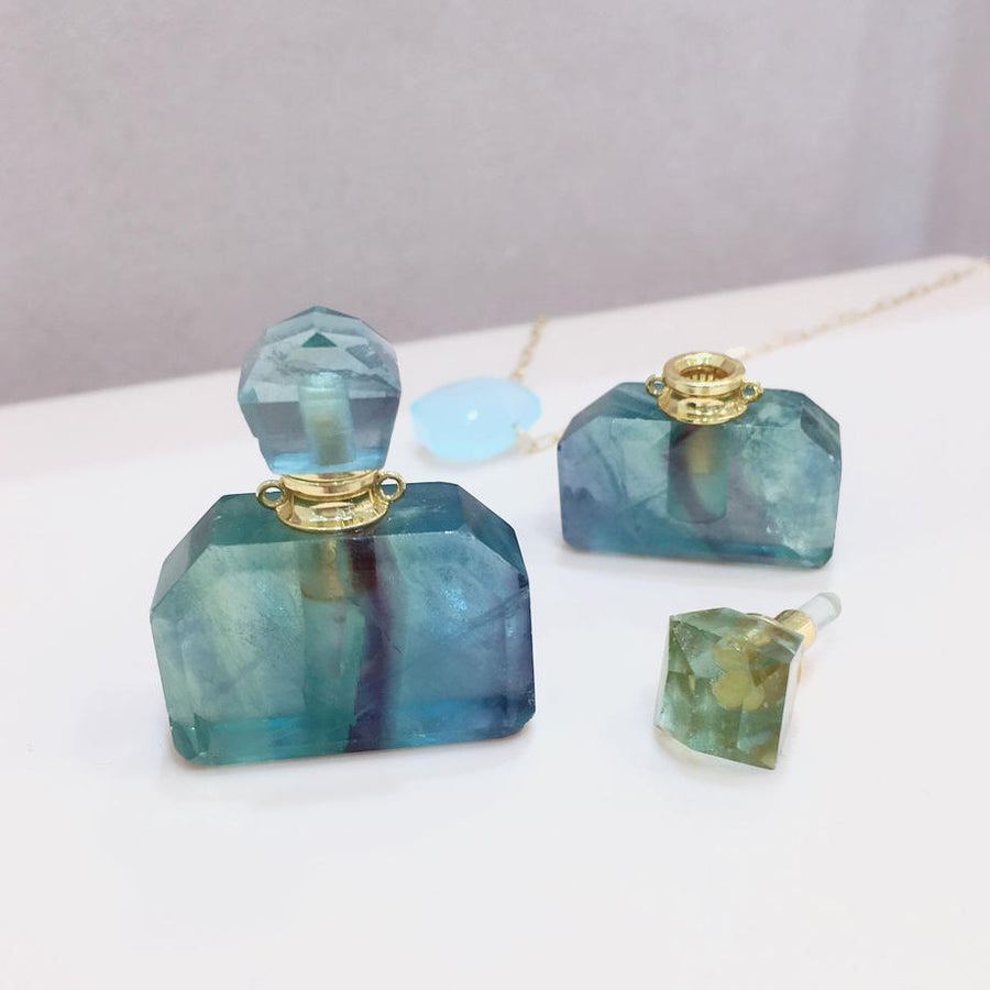 Perfume bottle (Green Fluorite / Ametyst)