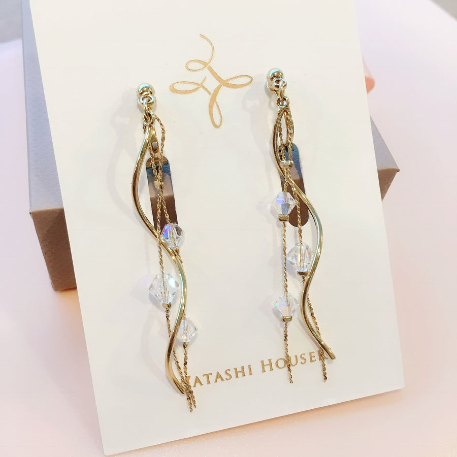 Wave SWAROVSKI Pierces / Earrings (GOLD)