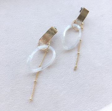 Marble Hoop Long Pierces / Earrings