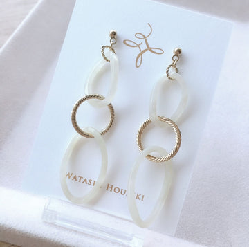 Clear Round and Gold Motif Pierces / Earrings