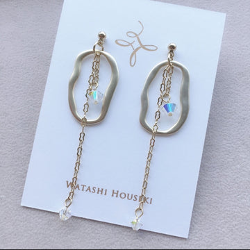 Crystal Aurora SWAROVSKI Long Pierces / Earrings