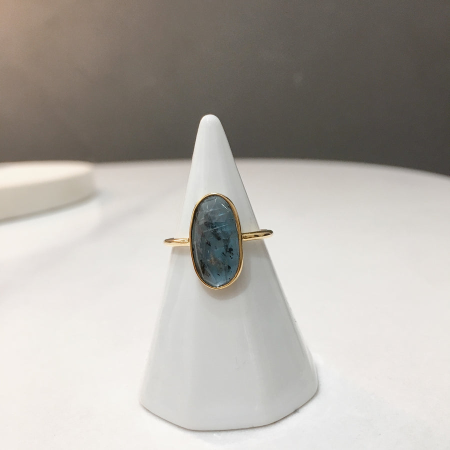 Oval Moss Kyanite Ring