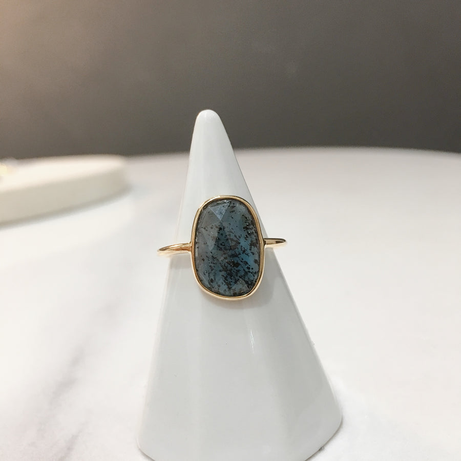 Rectangle Moss Kyanite Ring