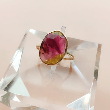 Oval Rose Cut Tourmaline Ring