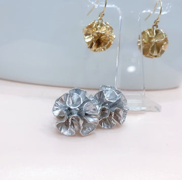 SHAFCA Silver Frill Ball Earrings