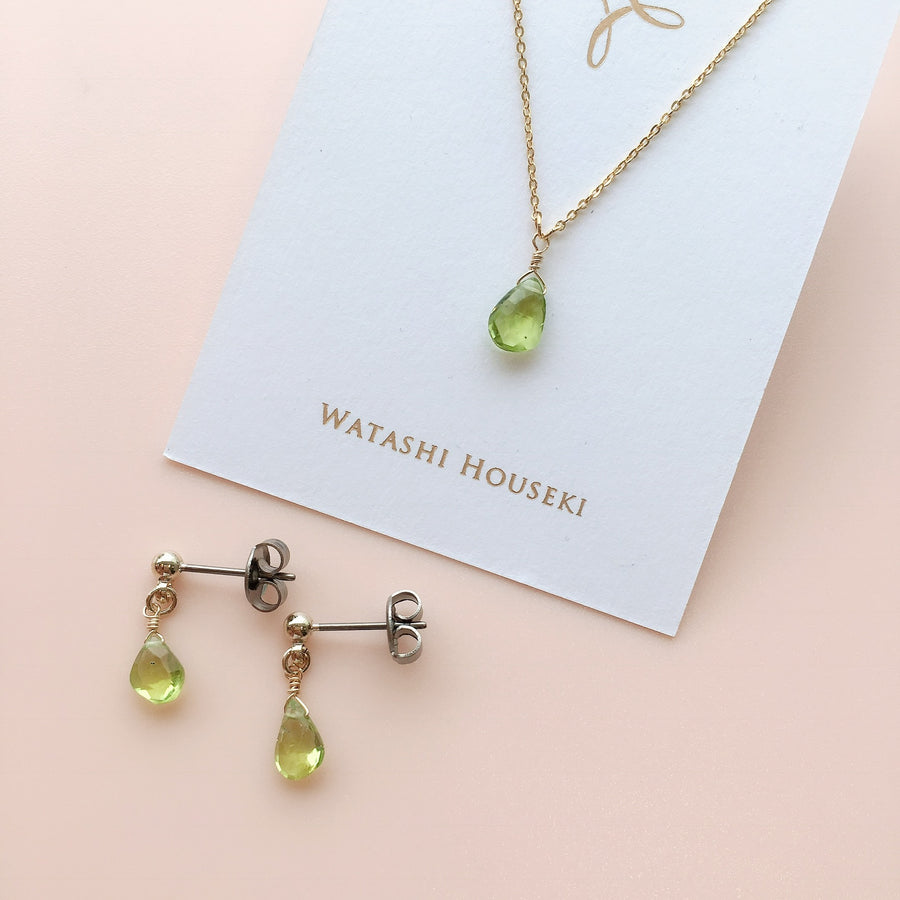 Peridot Gold Necklace and Pierces Special Set