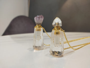 Select Perfume Bottle Necklace (Quartz, Amethyst×Quartz)