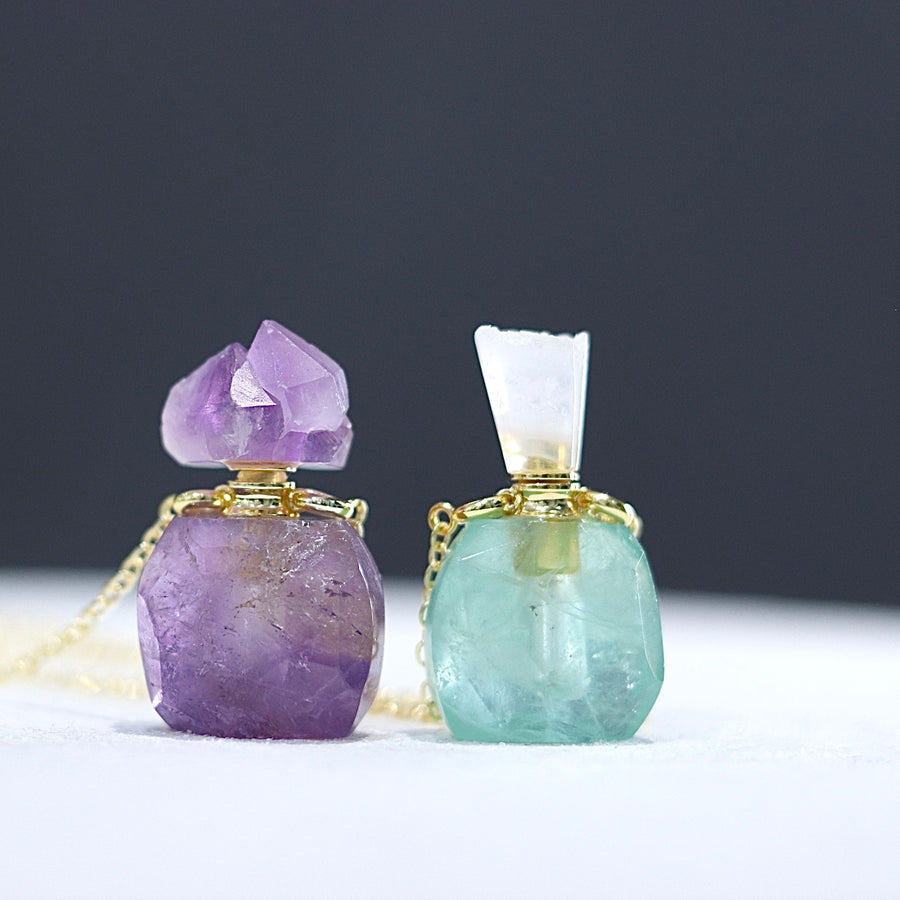 Select Perfume Bottle Necklace ( Amethyst / Fluorite / Citrine / Pink Agate )