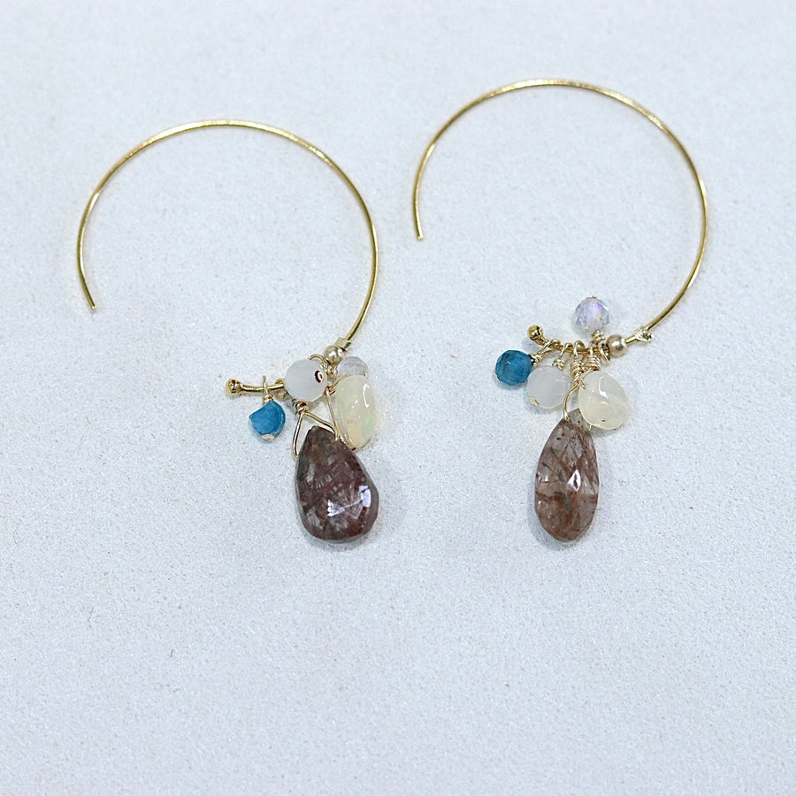 Watashi GEM Hoop Pierces(Rose Quartz / Blue Topaz / Copper Light)