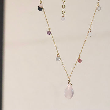 Watashi GEM Necklace(Rose Quartz / Amethyst)60cm