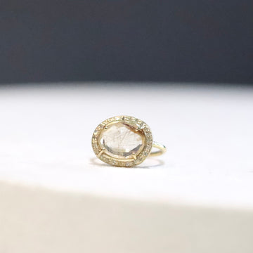 Gold Rutile Quartz Diamond Ring