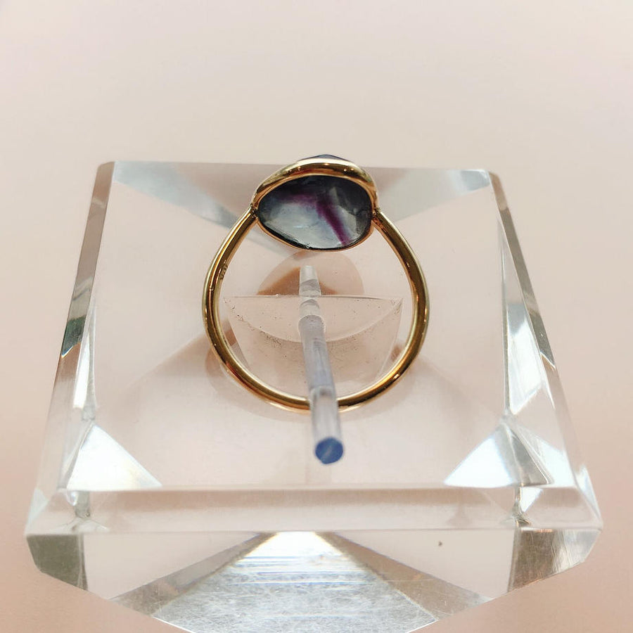Ellipse Rose Cut Fluorite Ring K10 【Sophia】