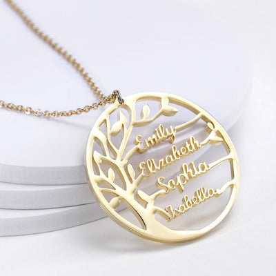 Personalized Statement Stylish Family Tree Name Necklace Gift for Love
