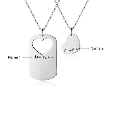 2 Pcs/Set Overlapping Heart Design Love Personalized Name Necklace 925 Sterling Silver Necklaces & Pendants