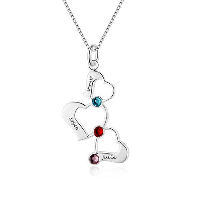 3 Heart Hollow Design Personalized Engrave Name Necklace Birthstone 925 Sterling Silver Necklaces & Pendants