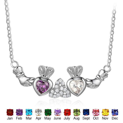 925 Sterling Silver Claddagh Necklace&Pendants 2 Heart Crown Customized Stones Necklace Irish Friendship Gift