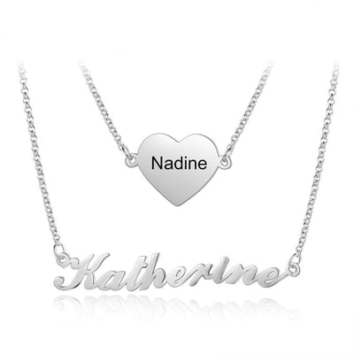 925 Sterling Silver/Copper Personalized Nameplate Necklaces for Women 2Pcs/Set Custom Name Heart Pendant Jewelry Gifts