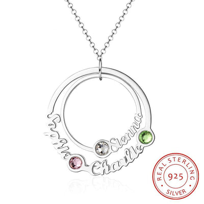 JewelOra 925 Sterling Silver Custom Name Circle Necklace with 3 Birthstones Personalized Family Necklace Gift for Best Friends