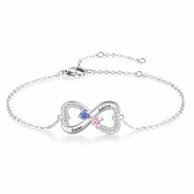 925 Sterling Silver Customized Infinity Bracelet with Heart Birthstone Personalized Engrave Name Bracelets for Lovers