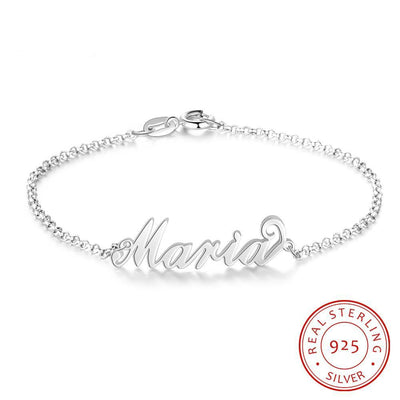925 Sterling Silver Personalized Custom Name Bracelets for Women Customized Charms Chain Bracelet Sister Gift