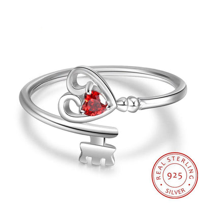 925 Sterling Silver Personalized Heart Rings for Women Customized 1 Birthstone Key Ring Silver 925 Fine Jewelry Gift