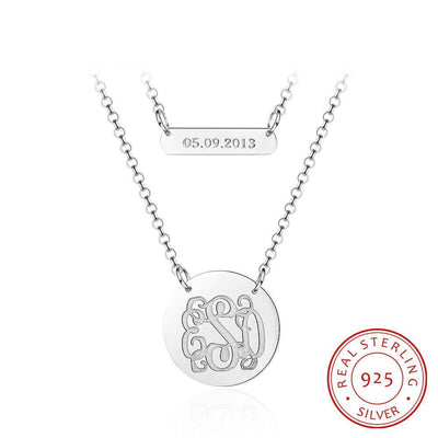 925 Sterling Silver Personalized Monogram Name Necklace Custom Made Date Double Chain Necklace Birthday Gift for Girls