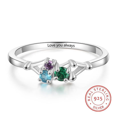925 Sterling Silver Personalized Rings with 3 Birthstones Custom Name Mother Rings for Women Silver 925 Engraved Jewelry Gift