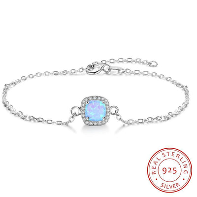JewelOra 925 Sterling Silver Square Created Blue Opal Bracelets with Cubic Zirconia Elegant Chain Bracelets & Bangles for Women