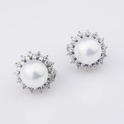 925 Sterling Silver Stud Earrings Classic 10mm Simulated Pearl With Cubic Zirconia Earrings For Women