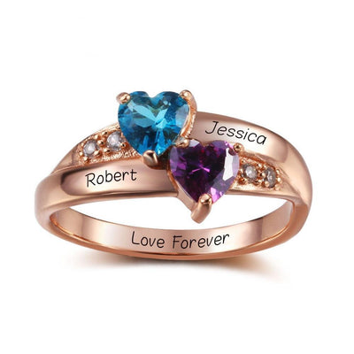Birthstone Heart Rings Personalized Jewelry Engrave 925 Sterling Silver CZ Rings Birthday Gift For Girls