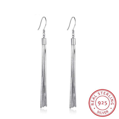 Bohemia Tassels Drop Earrings For Women 925 Sterling Silver Jewelry Female Simple Style Party Gift For Girl