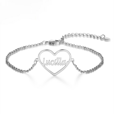 925 Sterling Silver Custom Heart Nameplate Bracelets for Women Personalized Name Adjustable Chain Bracelet Gift for Her