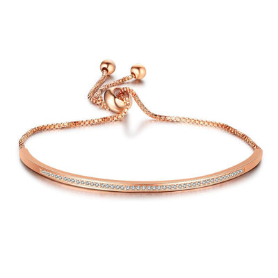 A Row Of Cubic Zirconia Accessorise Bangle Exqusite Rose Gold Bracelets & Bangles Perfect Gift For Love