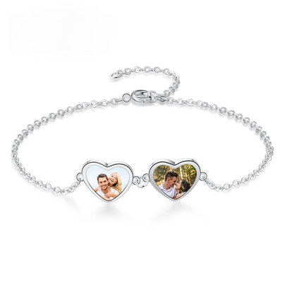 Designer Jewelry-Customized Photo Double Heart Chain Bracelets Stainless Steel Engraved Name Personalized Jewelry Gifts